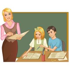 Teacher and children at blackboard vector image vector image