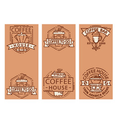 coffee cards food design thin line for restaurant vector image