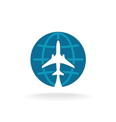 Earth globe with plane logo vector image