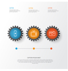 Hardware icons set collection of charge photo vector