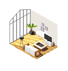 living room interior isometric composition vector image