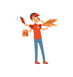 multitasking pizza delivery boy character boy in vector image