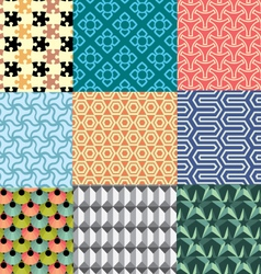 Nine geometric patterns and seamless 3D design vector image