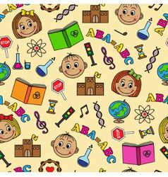 seamless pattern with children and school symbols vector image vector image