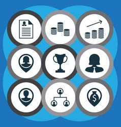 set of 9 management icons includes coins growth vector image