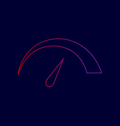 speedometer sign line icon vector image