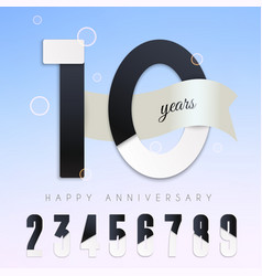 10 years anniversary emblem set numbers vector image