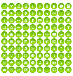 100 touch screen icons set green circle vector