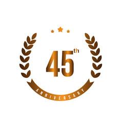 45 th anniversary template design vector