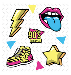 90s pop art icons vector