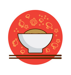a bowl of noodles vector image