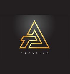 a golden letter monogram design logo gold letter vector image
