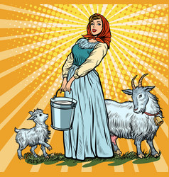 a village woman with bucket milk goats vector image