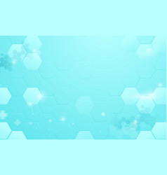 abstract blue hexagon with medical and science vector image