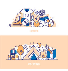 active lifestyle leisure linear banner templates vector image