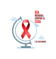 aids awareness red ribbon and globe spanish world vector image