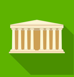 antique greek temple icon in flat style isolated vector image