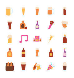 Beer bottles and liquor bottles icon set flat vector