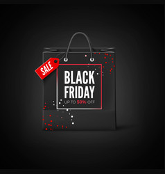 black friday sticker black bag with tag sale and vector image