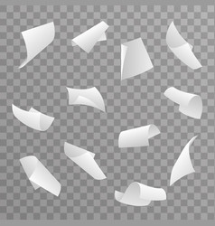 blank paper sheet 3d curl flying set transparent vector image