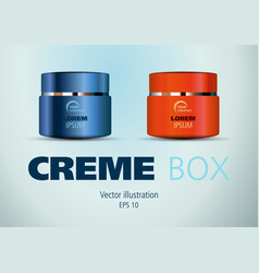 Blue and red cosmetic creme box vector