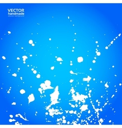 Blue background with splashes of white paint vector image