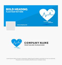 Blue business logo template for ecg heart vector