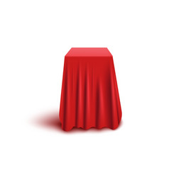 Box or stand covered with red fabric realistic vector