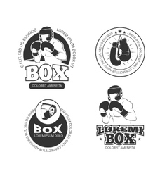 Boxing retro labels set vector