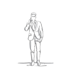 Business man sketch talking on phone conversation vector