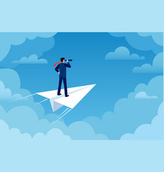 business vision businessman on paper plane vector image