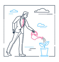 Businessman watering the plant - line design style vector