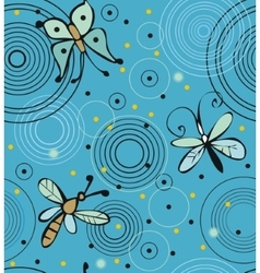 Butterflies and dragonflies on water vector