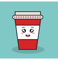 Cartoon cup plastic facial expression isolated vector