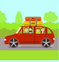 cartoon family journey by red car vector image