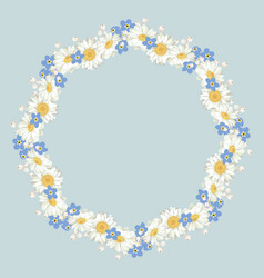 Chamomile and forget me-not-flowers pattern on vector