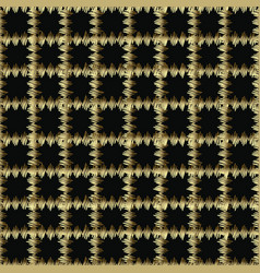 checkered gold and black grunge 3d seamless vector image
