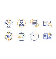 Chemistry experiment tips and search book icons vector