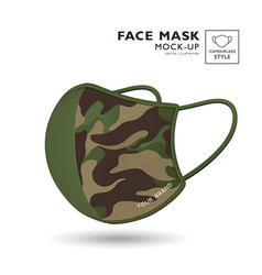 cloth green camouflage pattern face mask design vector image