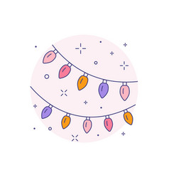 Colorful lamp garland icon in line art vector