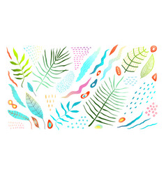 colorful tropic hand drawn leaves and nature vector image