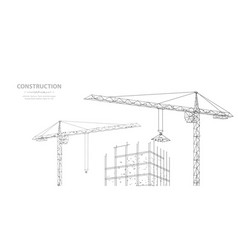 Construction polygonal wireframe building under vector