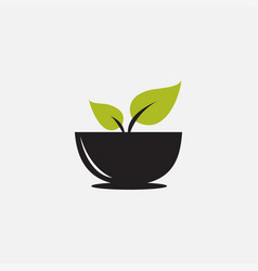 Cup with leaf green for drink nature logo design vector