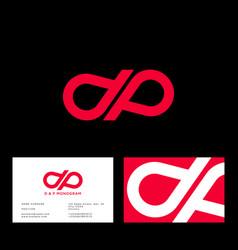 D p monogram drop red business card vector