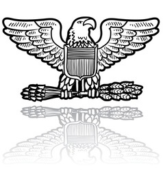 doodle us military insignia eagle vector image