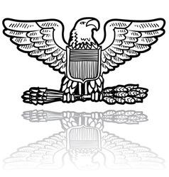 Doodle us military insignia eagle vector