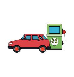 Eco friendly gas pump and car icon image vector