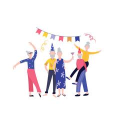 Elderly senior people birthday party flat cartoon vector