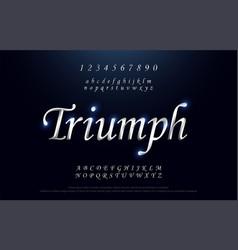 Elegant silver colored metal chrome alphabet font vector