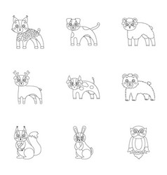 Farm zoo ecology and other web icon in outline vector